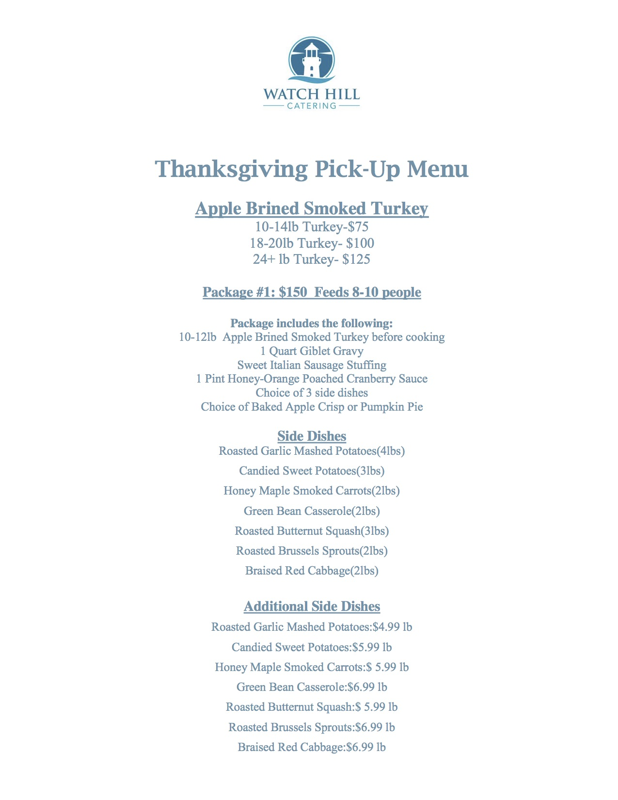 Thanksgiving Pick up Menu Packages and Additions