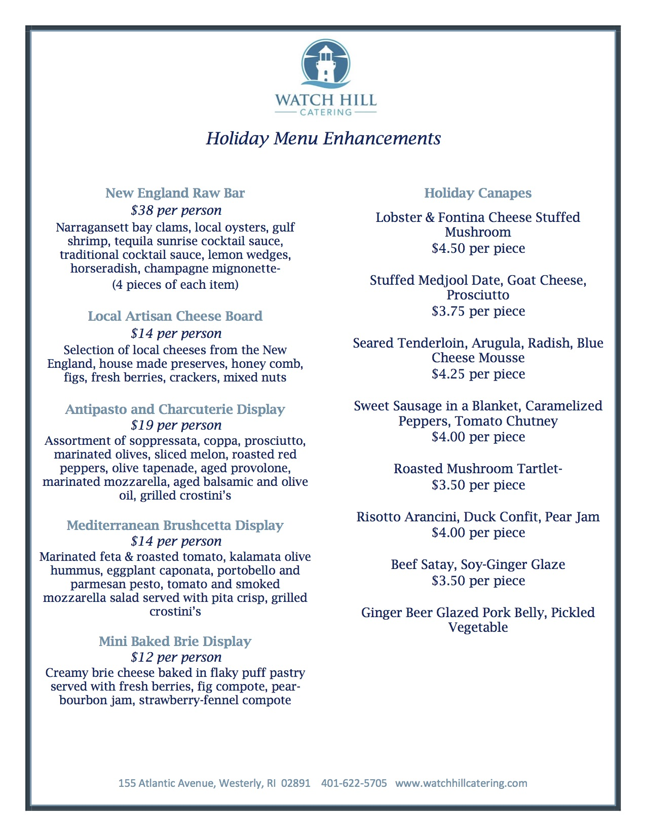 Watch Hill Catering Holiday Menus Pg 2