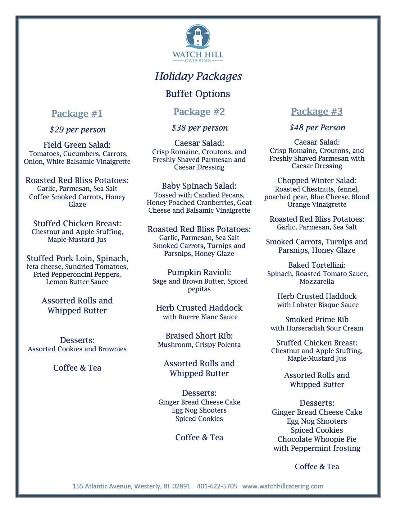 Watch Hill Catering Holiday Menus